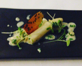 Fusion called confusion: White asparagus, chilli bean miso curry and pea sprouts