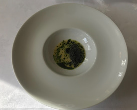 Caviar Søllerød Selected, langoustine & sauce from cabbage & parsley
