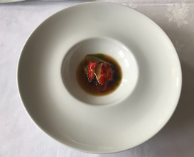 Black lobster, leek, tomato, pine & bouillon