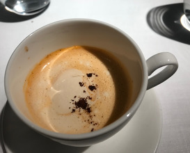 Cappuccino of North Sea shrimp with coffee