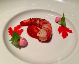 Mazara prawn with pondicherry rose and chioggia