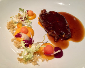 Wagyu chia chow chill beef with pumpkin and trevisano