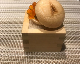 Ikura and egg yolk-filled Suetomi Monaka