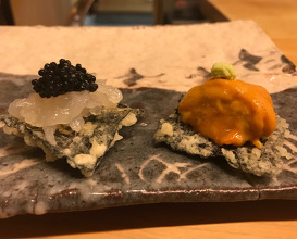 Tempura seaweed with uni // shiva-ebi with caviar