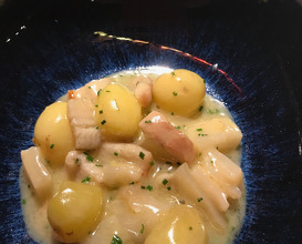Potato ragout with codfish tripes and smoked eel