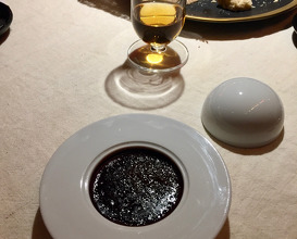 Blood sausage creme brûlée with black cumin
