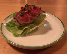 fried oyster, beef carpaccio, 1000 island, butter lettuce