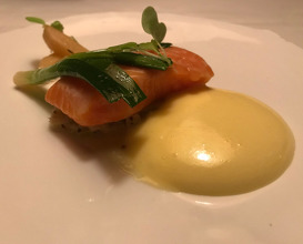 Loch Etive Salmon Poached in Olive Oil on Leek Fondue with Cider Mousseline
