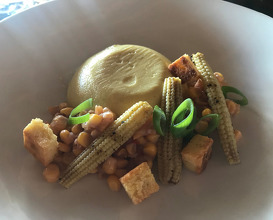 sweetcorn: sweetcorn royal, grilled corn, spring onion and corn bread crouton, sweetcorn relish