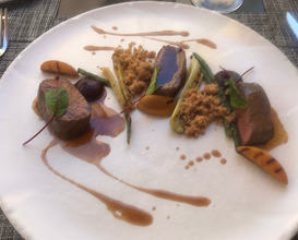 Blesbol loin, charred vegetables, spiced crumble and balsamic jus