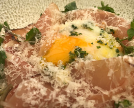 Slow cooked Hen's egg, shaved black forest ham, creamed young leek and toasted hazelnut