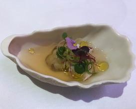 Fresh West Coast oyster, gazpacho, coriander, jalapeno, shiso