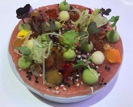 Yellowfin tuna, aubergine, miso, naartjie, avocado