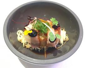 Gochujang glazed pork, scallop, celeriac, wild garlic, horseradish