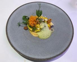 Ravioli of langoustine, curried hake velouté, cauliflower, coriander