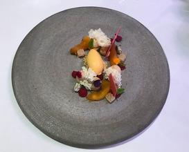 Valrhona Dulcey, stone fruit, yoghurt, pistachio, amaretto