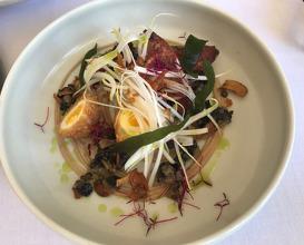 Roasted quail breast/ Scotch egg / Black garlic & lentil