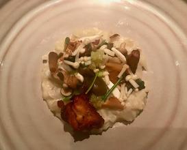 Jerusalem artichoke with mushrooms, swede & green almonds