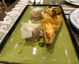 Bruschetta with home-made veal pate, served with capers, pickles, parmesan and pesto