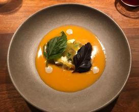 Tomato soup, burrata cream de anchovies