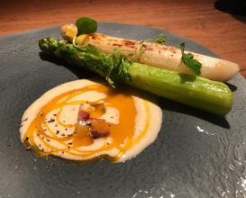 French and japanese asparagus,  Parmesan cream with egg yolk