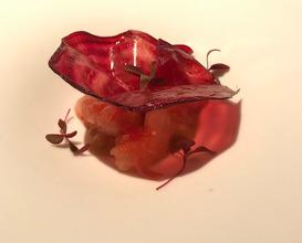 Amaebi Raw Spot Prawns / Dashi Jelly / Beetroot