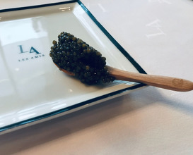 Les Cheveux D'angel cold angel hair pasta balanced with kombu, caviar & black truffle