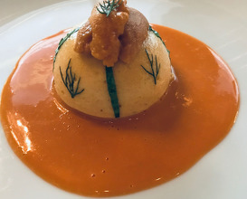 Le Soufflé Aux Oursins sea urchin souflé lightly flavoured with terragon & dill presented with sauce coraline