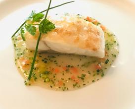 Le Bar De Saint Gilles-Croix-De-Vie line-caught sea bass from saint-gilles-croix-de-vie with sauce printanière