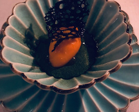 Sea buckthorn sorbet, crystallized sea lettuce, blue & green tea