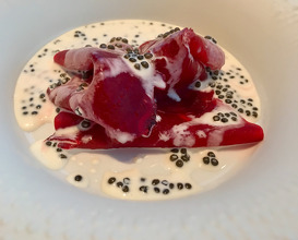 Salt crusted beetroot from our garden Oscietra Caviar cream