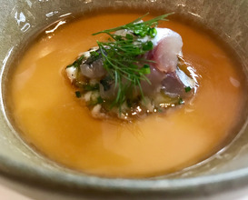 Chawanmushi, king crab, foie gras, hot smoked pork broth, ramson