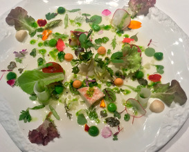 2001 Vegetable hearts salad with seafood, cream of lettuce and iodized juice