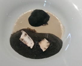 "2015 ""The Truffle"" with fermented wild mushrooms and collard greens"