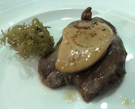 Dry aged beef cooked on hot stones with licheon