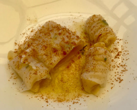Pasta with octopus lard and rosemary