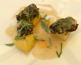 Morel mushroom, white wine sauce, citrus fruit and peach