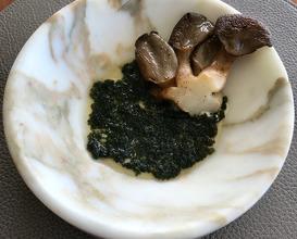 Oyster mushroom, crab bullion, sea grapes