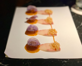 "USUZUKURI-CARPACCIO OF HAMACHI ""FISH AND CHIPS"" With Aji Amarillo and Yuzu."