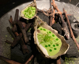 OYSTERS ON HOLIDAY TO ACAPULCO! Robata-chargrilled Oysters, Gazpacho of Jalapeño &e tomatillo verde, chlorophyll olive oil