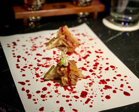 PEKINESE DUMPLINGS. Crunchy pig's ear, strawberry hoisin, Ali-oli and pickles!!