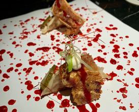 PEKINESE DUMPLINGS. Crunchy pig's ear, strawberry hoisin, Ali-oli and pickles!!