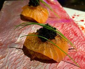 "CROQUETTES ""LA PEDROCHE"" Kimchi, sheep's milk, wild salmon, tobiko black and Lapsang Souchong tea."