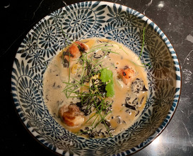 RAMEN OF FOIE GRAS & BBQ'D GUINEA FOWL With black trumpet mushrooms