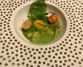 crayfish in pea sauce and egg yolk