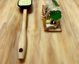 """15. Crunchy """"Canapé"""" Of Sucking Pork Skin, Little Squids, Mature Tomatoes & Dried Little Squids Marmalade, Chargrilled """"Habanero"""" Chillies Purée & ldiazabal Cheese, Frozen Green Lemon With Coriander Root"""