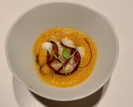 """20. """"Caldillo De Perro""""(Soup) Of Its Heads (Lobster) With Vermicelli Of Sarraceno Wheat, Sour Oranges And Lemongrass"""