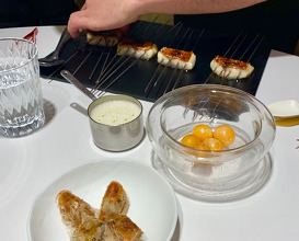 """21. RED MULLET Cooked """"A La Espalda"""" In A Yakitori Grill, Moroccan Lemon, Roasted Mini Hen Yolk And A Carbonara Sauce Made Of Clams"""