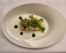 Spider crab salad, eggplant and fine herbs flavoured cheese and pine nuts