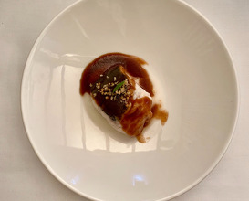 """Steamed hake, it's """"pil-pil"""" and red wine sauce"""